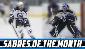 Two hockey players Sabres of the month