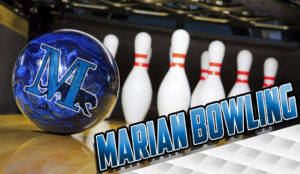 Marian bowling with pins and a ball