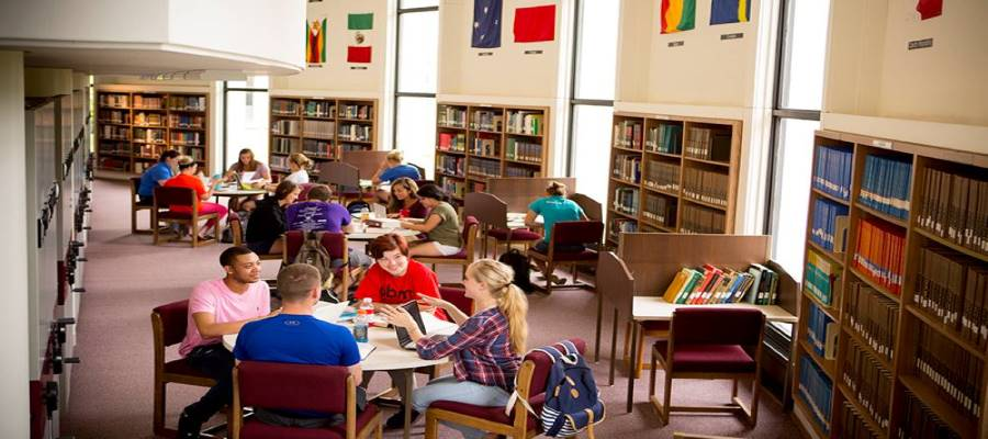 Students studying in the library. Learn about Marian's Citations, Plagiarism, and Copyright policies.
